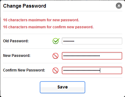 16 characters maximum for new password.
